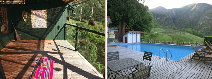 ヨガや瞑想のためのスペース。右:自然に囲まれた温水プール。